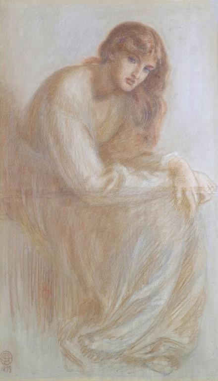 A painting/sketch (1879) of Alexa Wilding by Dante Gabriel Rossetti.