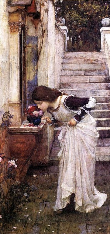 Another painting by J.W. Waterhouse that features roses, 'The Shrine' 1895