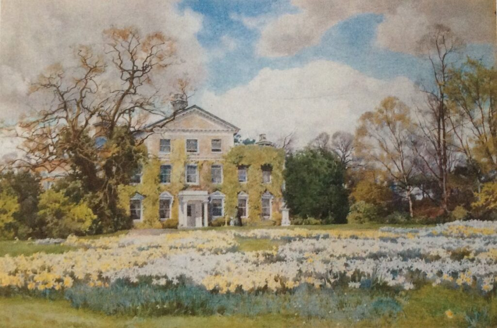 Warley Place, the Willmott family home. A painting by Alfred Parsons taken from A Garden of Roses.